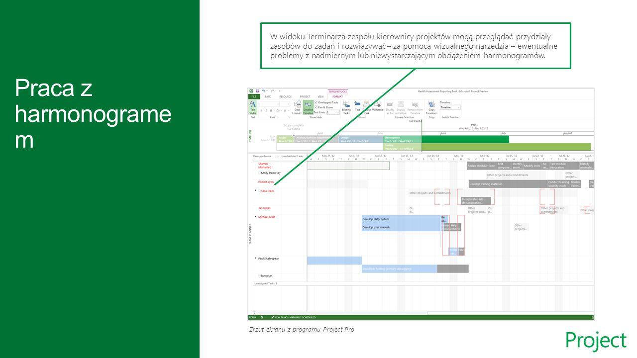 Zrzut ekranu z programu Project Pro W widoku Terminarza zespołu kierownicy projektów mogą przeglądać przydziały zasobów do zadań i rozwiązywać – za pomocą wizualnego narzędzia – ewentualne problemy z nadmiernym lub niewystarczającym obciążeniem harmonogramów.