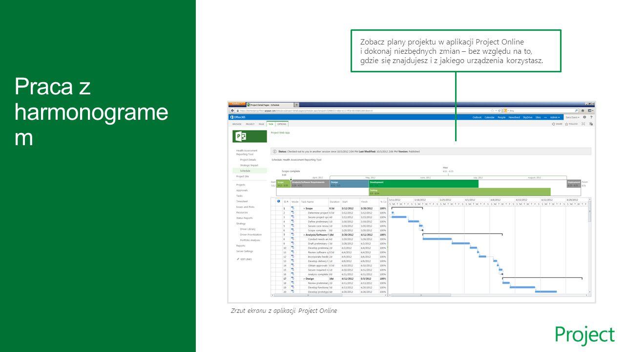 Zrzut ekranu z aplikacji Project Online Zobacz plany projektu w aplikacji Project Online i dokonaj niezbędnych zmian – bez względu na to, gdzie się znajdujesz i z jakiego urządzenia korzystasz.