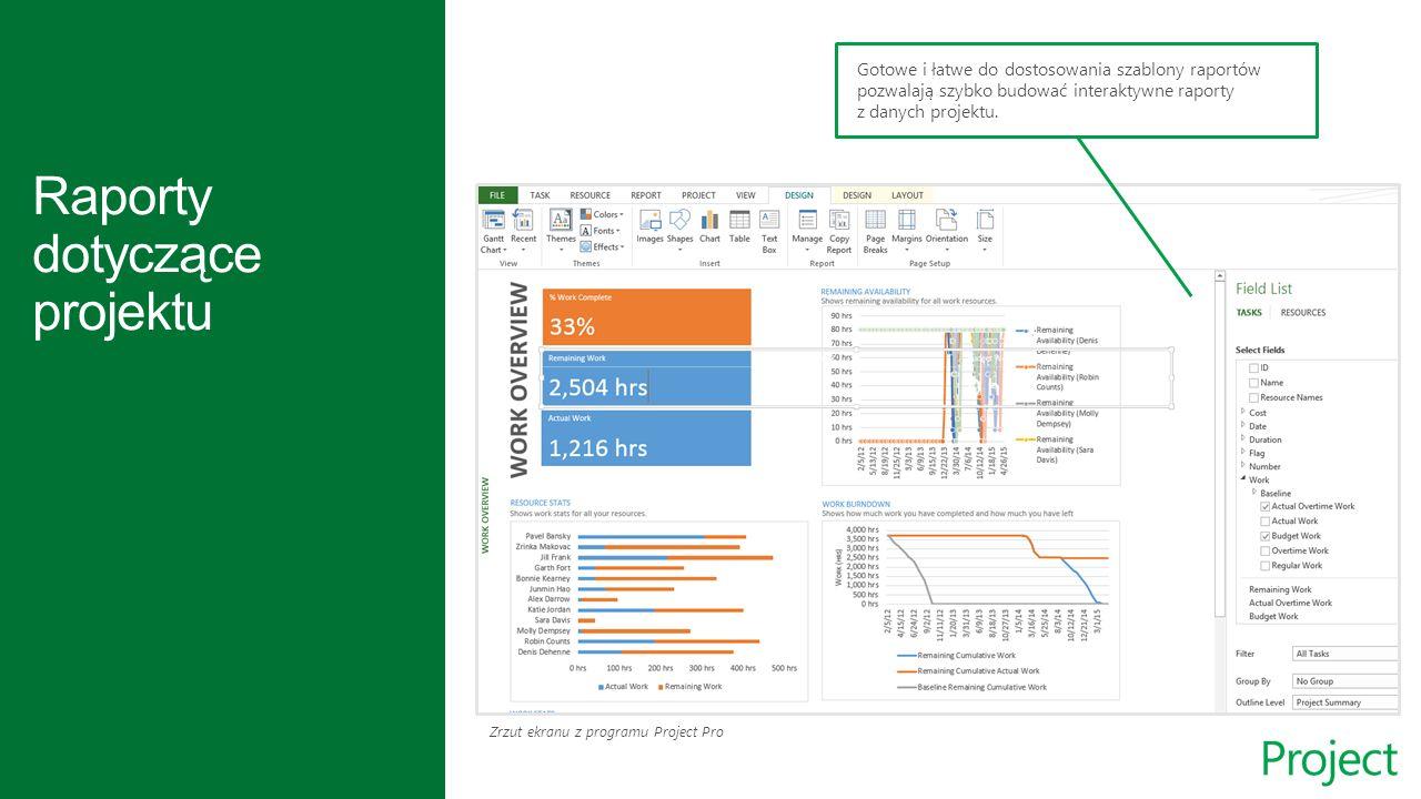 Zrzut ekranu z programu Project Pro Gotowe i łatwe do dostosowania szablony raportów pozwalają szybko budować interaktywne raporty z danych projektu.