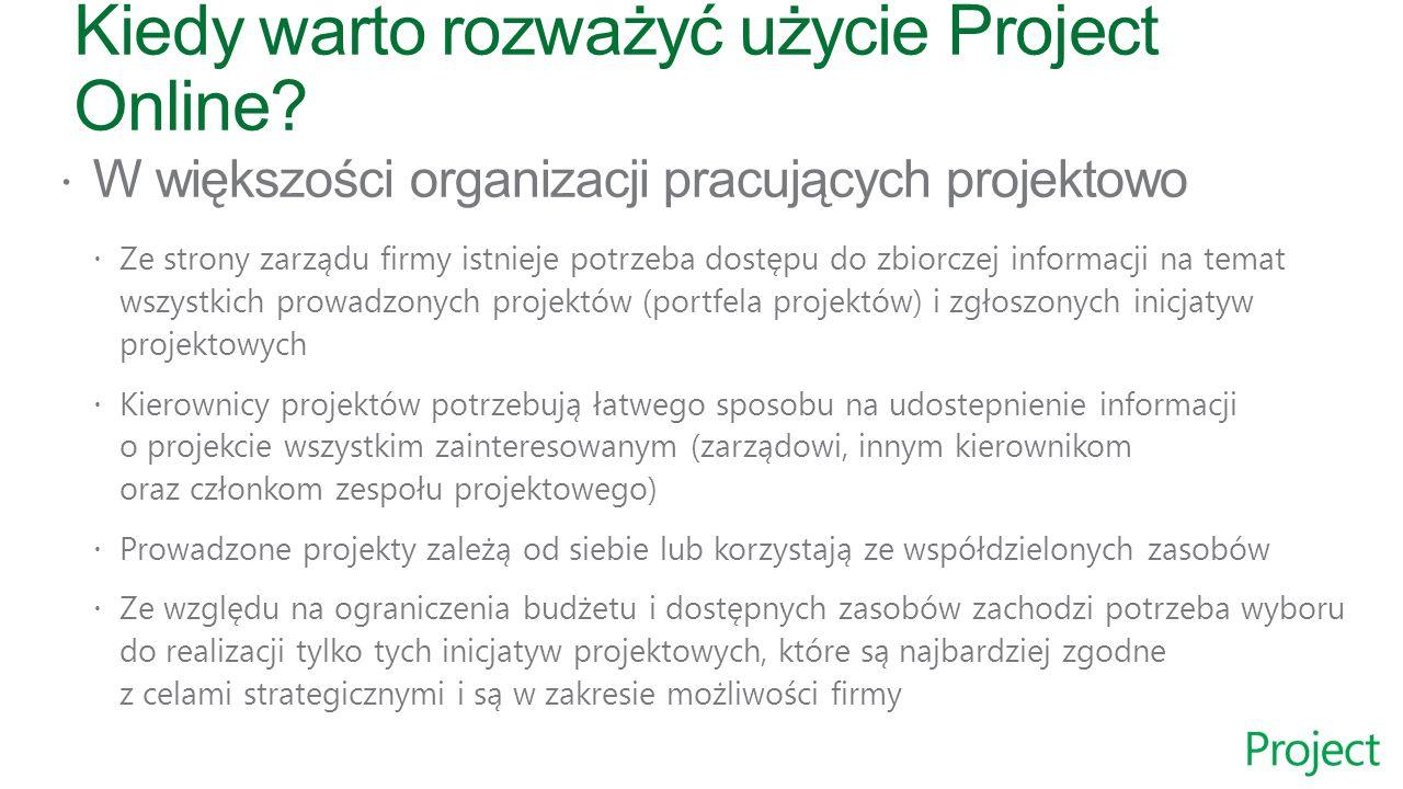  Członkowie zarządu  Kierownicy projektów i programów  Menadżerowie portfela  Menadżerowie zasobów  Członkowie zespołów projektowych Odbiorcy rozwiązania