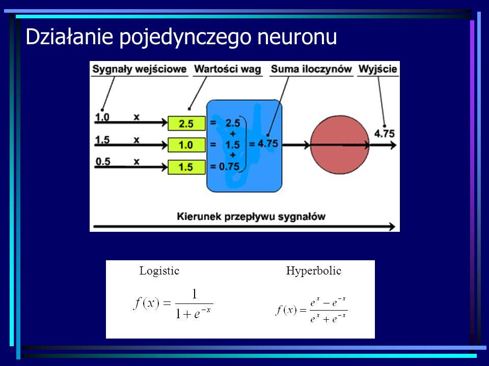 Działanie pojedynczego neuronu Logistic Hyperbolic