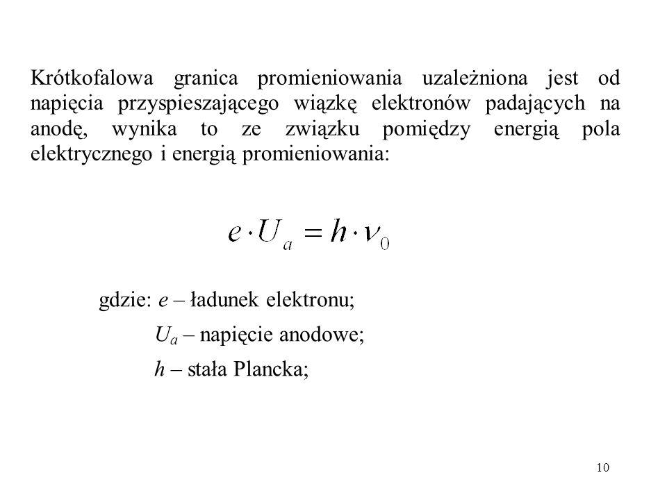 10 Krótkofalowa granica promieniowania uzależniona jest od napięcia przyspieszającego wiązkę elektronów padających na anodę, wynika to ze związku pomi
