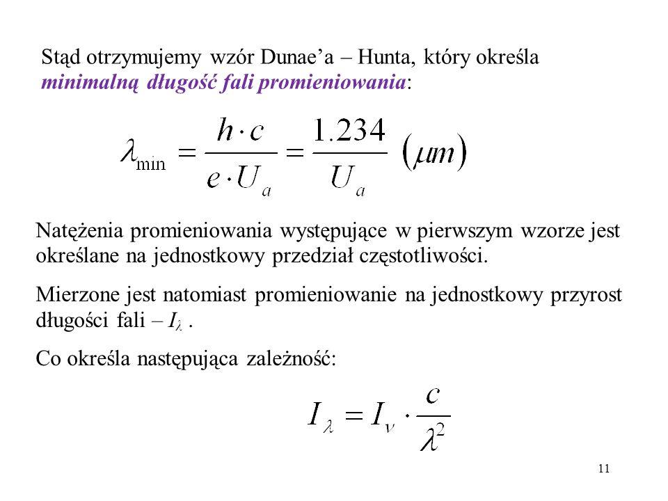 11 Natężenia promieniowania występujące w pierwszym wzorze jest określane na jednostkowy przedział częstotliwości. Mierzone jest natomiast promieniowa