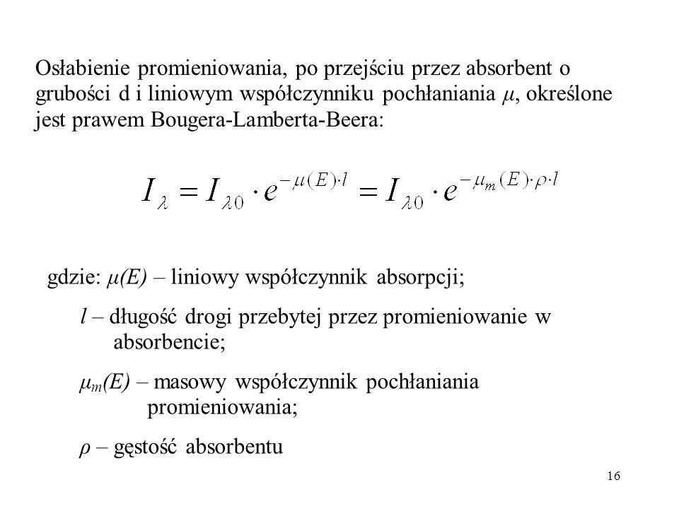 16 Osłabienie promieniowania, po przejściu przez absorbent o grubości d i liniowym współczynniku pochłaniania μ, określone jest prawem Bougera-Lambert