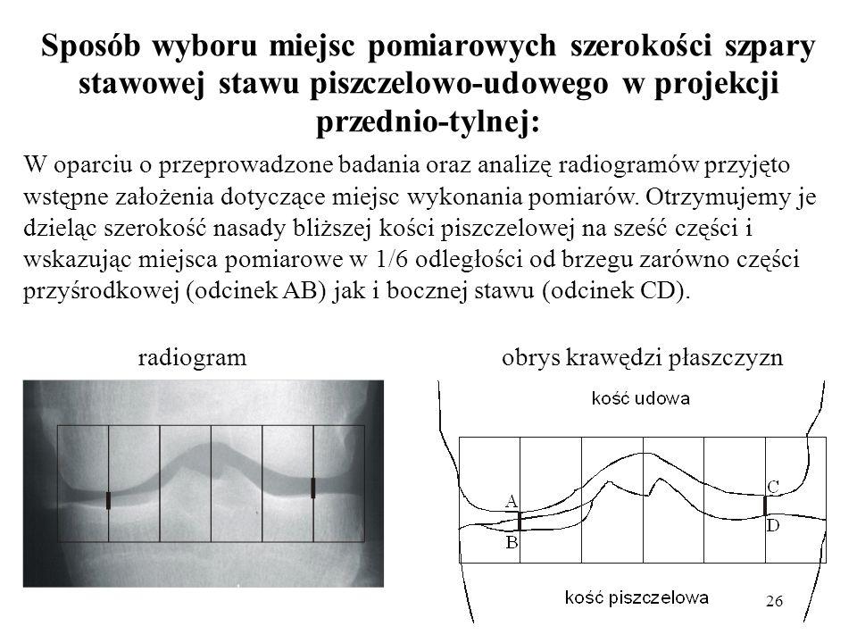 26 Sposób wyboru miejsc pomiarowych szerokości szpary stawowej stawu piszczelowo-udowego w projekcji przednio-tylnej: W oparciu o przeprowadzone badan