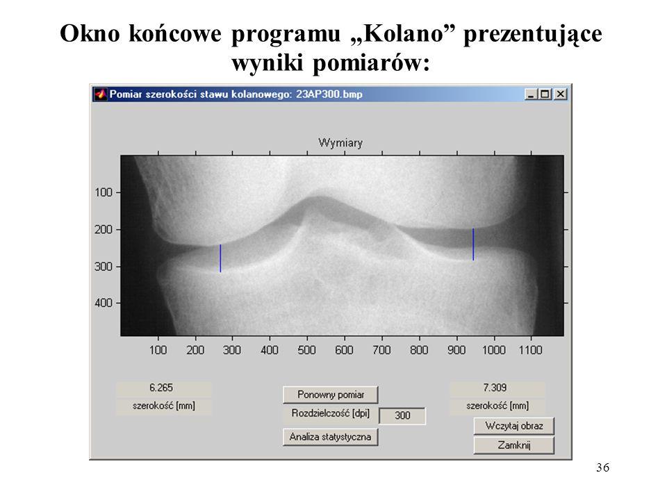 """36 Okno końcowe programu """"Kolano"""" prezentujące wyniki pomiarów:"""