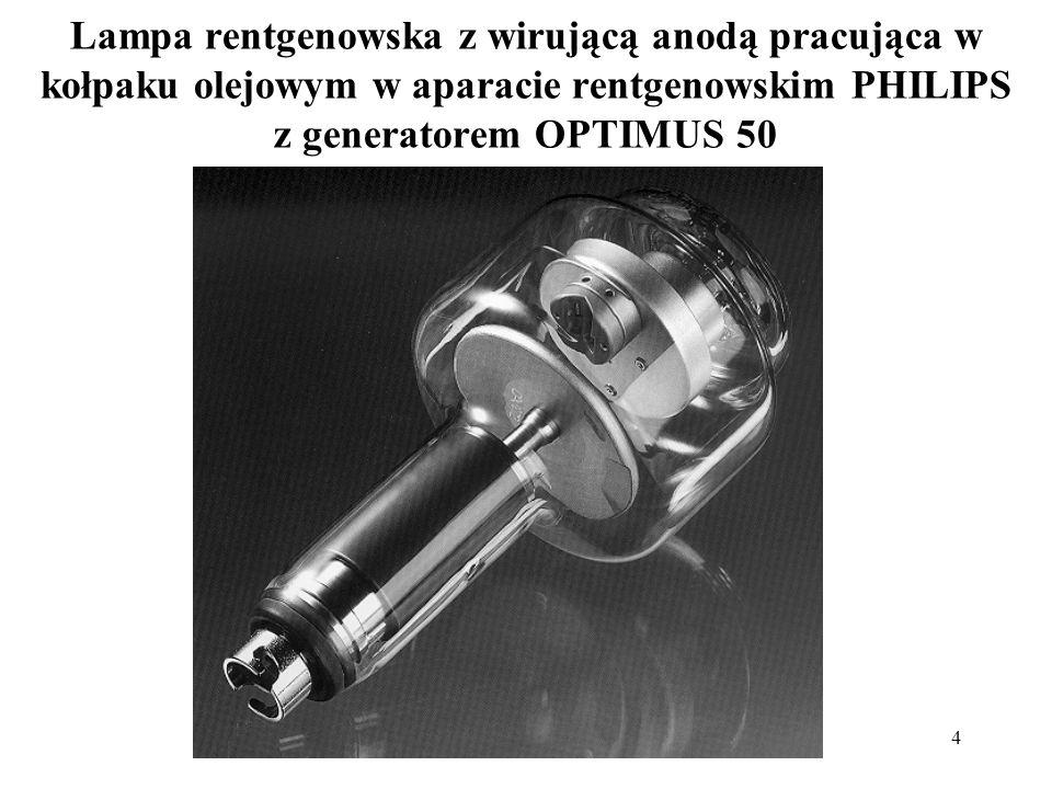 5 Schemat lampy rentgenowskiej z wirującą anodą: stojan anoda szklana bańka wysokie napięcie promieniowanie X katoda prąd żarzenia i wysokie napięcie trzon anody łożysko i wirnik