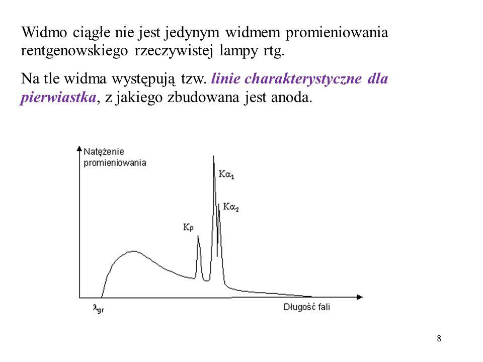 9 Lampa rentgenowska i model emisji jej promieniowania: Lampa rentgenowska to źródło promieniowania o pewnej charakterystyce emisyjnej, która jak wykazał Kuhlenkampff, może być opisana za pomocą wzoru: gdzie: I v – natężenie promieniowania na jednostkowy przedział częstotliwości; Z – liczba atomowa materiału anody; A, B – stałe lampy, niezależne od przyłożonego napięcia i liczby atomowej; v 0 – częstotliwość określająca krótkofalową granicę promieniowania.