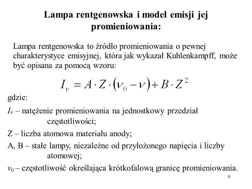 9 Lampa rentgenowska i model emisji jej promieniowania: Lampa rentgenowska to źródło promieniowania o pewnej charakterystyce emisyjnej, która jak wyka