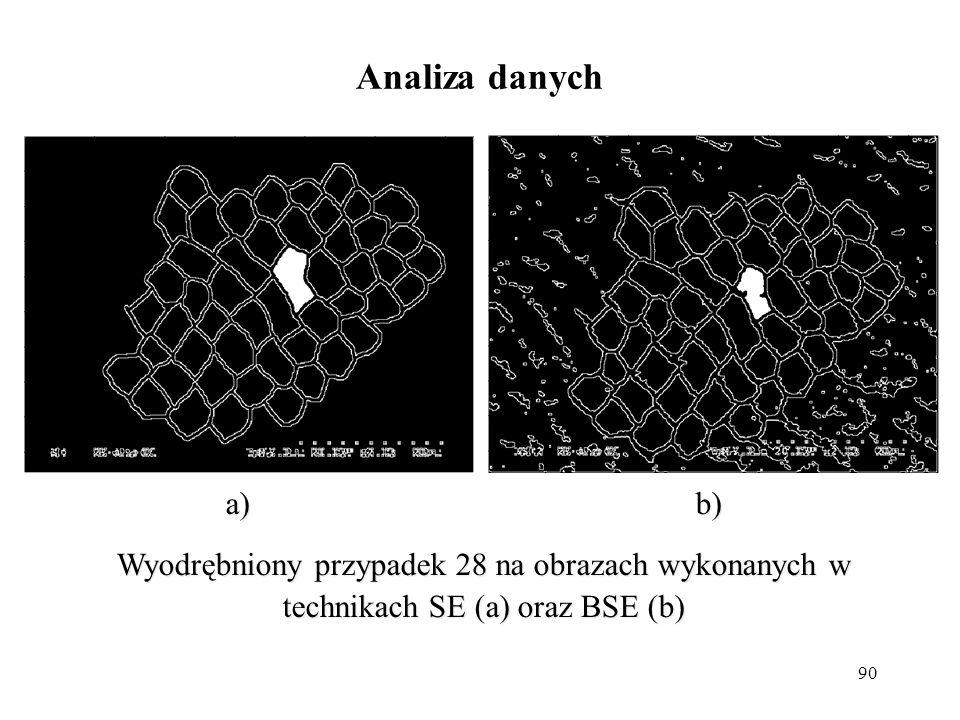 90 Analiza danych a)b) Wyodrębniony przypadek 28 na obrazach wykonanych w technikach SE (a) oraz BSE (b) a)b) Wyodrębniony przypadek 28 na obrazach wy