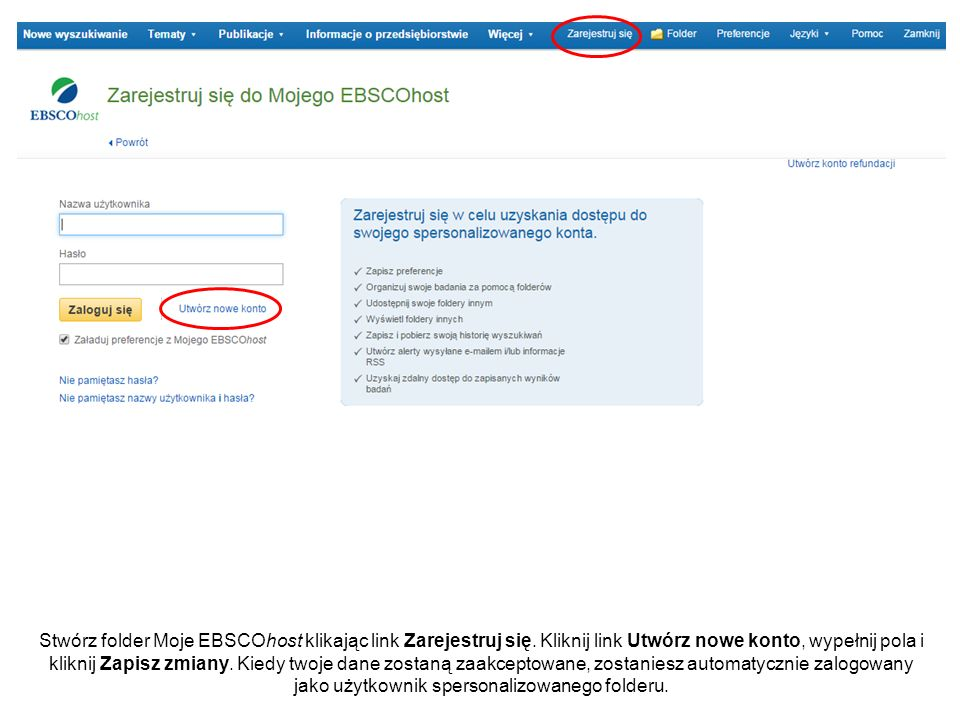 Stwórz folder Moje EBSCOhost klikając link Zarejestruj się.