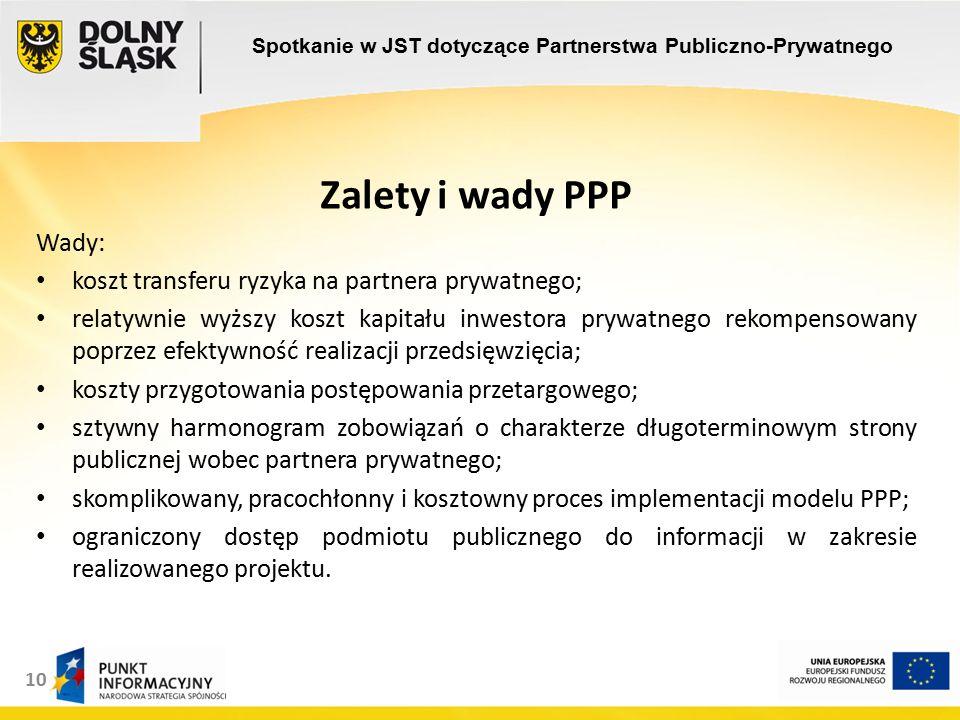 10 Zalety i wady PPP Wady: koszt transferu ryzyka na partnera prywatnego; relatywnie wyższy koszt kapitału inwestora prywatnego rekompensowany poprzez efektywność realizacji przedsięwzięcia; koszty przygotowania postępowania przetargowego; sztywny harmonogram zobowiązań o charakterze długoterminowym strony publicznej wobec partnera prywatnego; skomplikowany, pracochłonny i kosztowny proces implementacji modelu PPP; ograniczony dostęp podmiotu publicznego do informacji w zakresie realizowanego projektu.