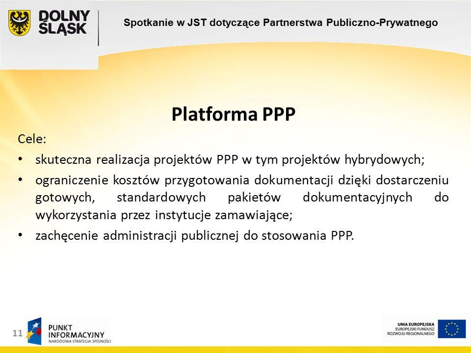 11 Platforma PPP Cele: skuteczna realizacja projektów PPP w tym projektów hybrydowych; ograniczenie kosztów przygotowania dokumentacji dzięki dostarczeniu gotowych, standardowych pakietów dokumentacyjnych do wykorzystania przez instytucje zamawiające; zachęcenie administracji publicznej do stosowania PPP.