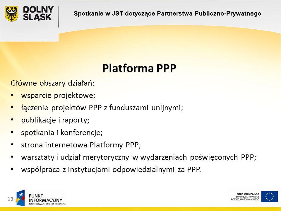 12 Platforma PPP Główne obszary działań: wsparcie projektowe; łączenie projektów PPP z funduszami unijnymi; publikacje i raporty; spotkania i konferencje; strona internetowa Platformy PPP; warsztaty i udział merytoryczny w wydarzeniach poświęconych PPP; współpraca z instytucjami odpowiedzialnymi za PPP.