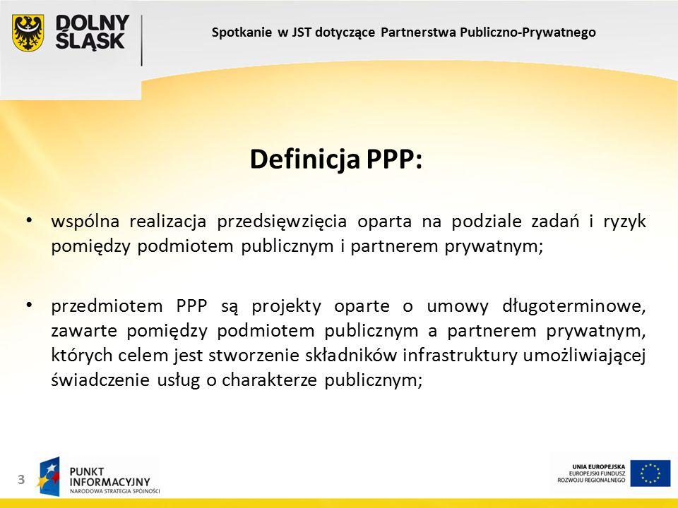 3 Definicja PPP: wspólna realizacja przedsięwzięcia oparta na podziale zadań i ryzyk pomiędzy podmiotem publicznym i partnerem prywatnym; przedmiotem PPP są projekty oparte o umowy długoterminowe, zawarte pomiędzy podmiotem publicznym a partnerem prywatnym, których celem jest stworzenie składników infrastruktury umożliwiającej świadczenie usług o charakterze publicznym; Spotkanie w JST dotyczące Partnerstwa Publiczno-Prywatnego