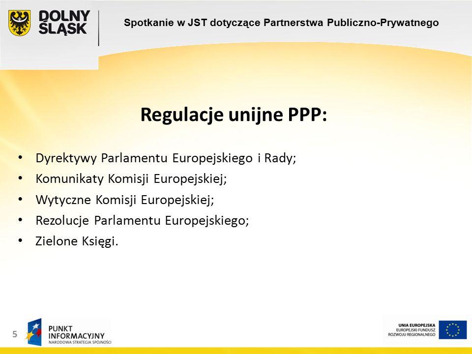 5 Regulacje unijne PPP: Dyrektywy Parlamentu Europejskiego i Rady; Komunikaty Komisji Europejskiej; Wytyczne Komisji Europejskiej; Rezolucje Parlamentu Europejskiego; Zielone Księgi.