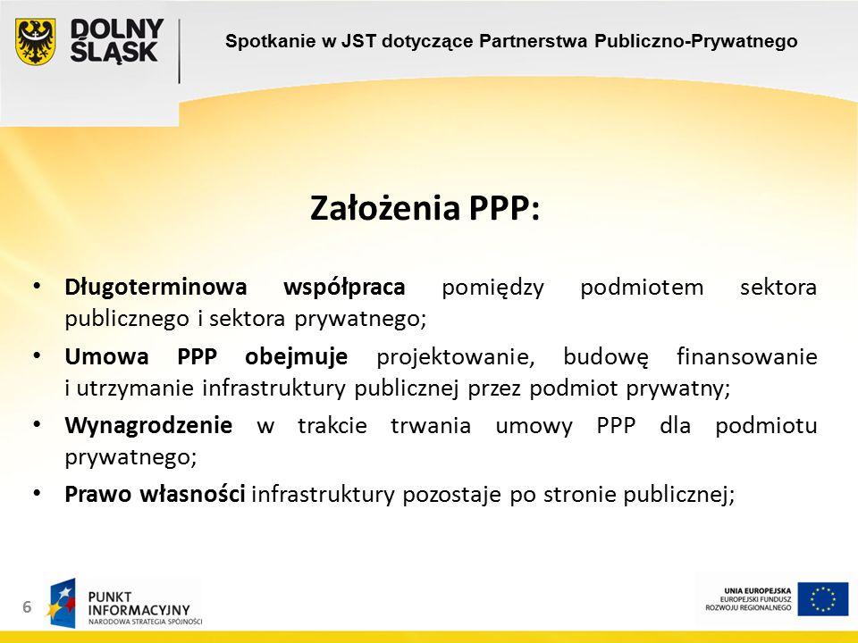6 Założenia PPP: Długoterminowa współpraca pomiędzy podmiotem sektora publicznego i sektora prywatnego; Umowa PPP obejmuje projektowanie, budowę finansowanie i utrzymanie infrastruktury publicznej przez podmiot prywatny; Wynagrodzenie w trakcie trwania umowy PPP dla podmiotu prywatnego; Prawo własności infrastruktury pozostaje po stronie publicznej; Spotkanie w JST dotyczące Partnerstwa Publiczno-Prywatnego