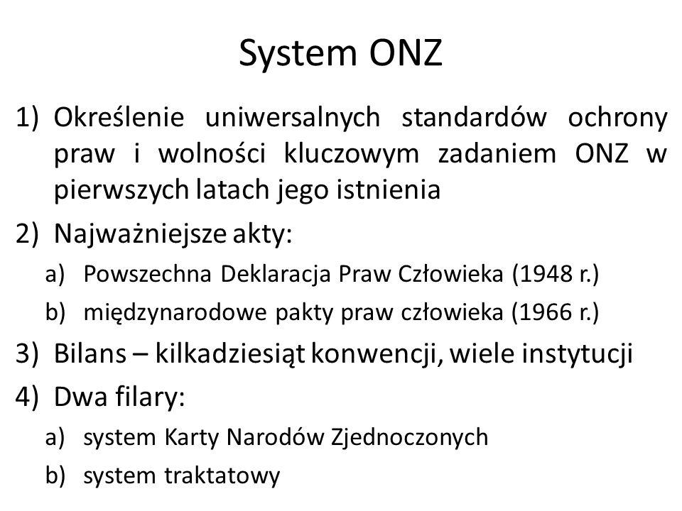 System ONZ 1)Określenie uniwersalnych standardów ochrony praw i wolności kluczowym zadaniem ONZ w pierwszych latach jego istnienia 2)Najważniejsze akt