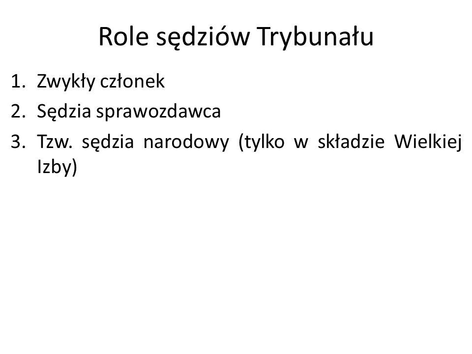 Role sędziów Trybunału 1.Zwykły członek 2.Sędzia sprawozdawca 3.Tzw. sędzia narodowy (tylko w składzie Wielkiej Izby)