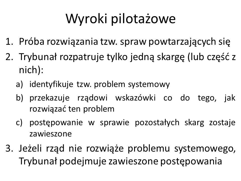Wyroki pilotażowe 1.Próba rozwiązania tzw. spraw powtarzających się 2.Trybunał rozpatruje tylko jedną skargę (lub część z nich): a)identyfikuje tzw. p