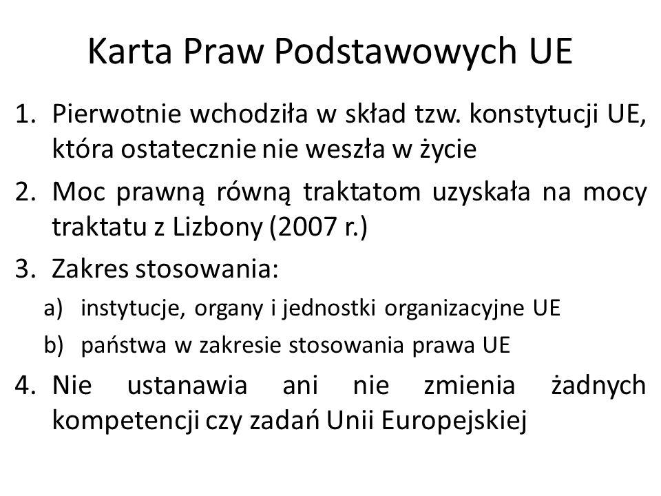 Karta Praw Podstawowych UE 1.Pierwotnie wchodziła w skład tzw. konstytucji UE, która ostatecznie nie weszła w życie 2.Moc prawną równą traktatom uzysk