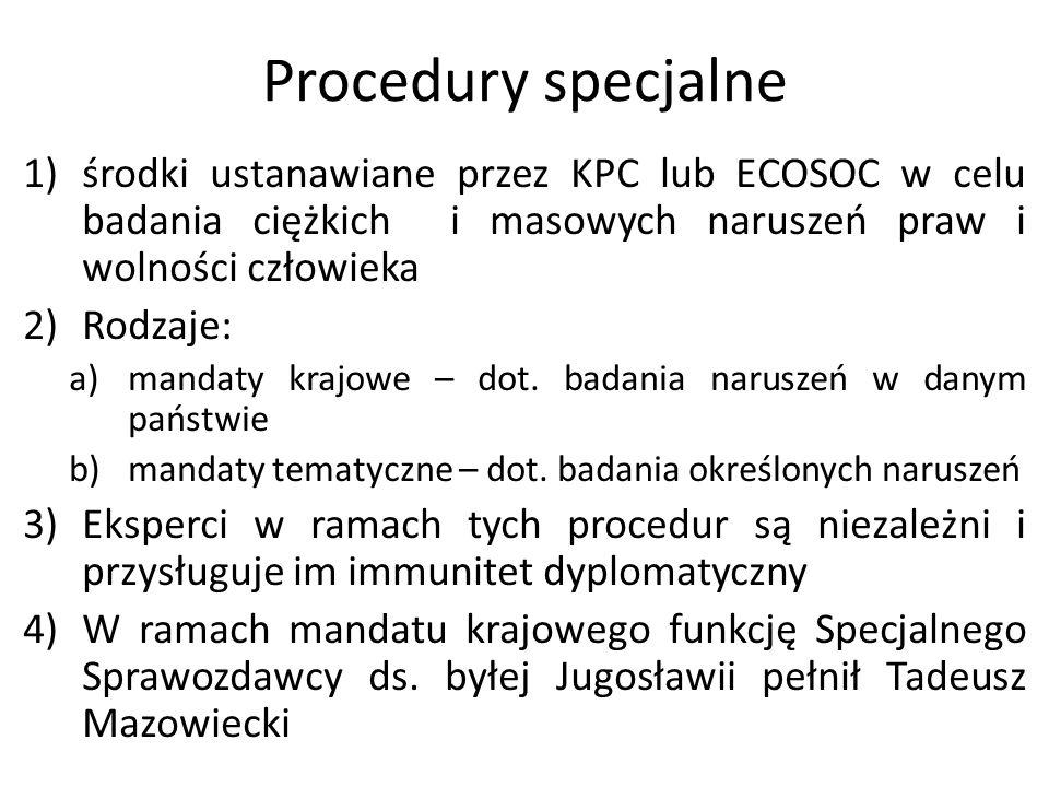 Procedury specjalne 1)środki ustanawiane przez KPC lub ECOSOC w celu badania ciężkich i masowych naruszeń praw i wolności człowieka 2)Rodzaje: a)manda