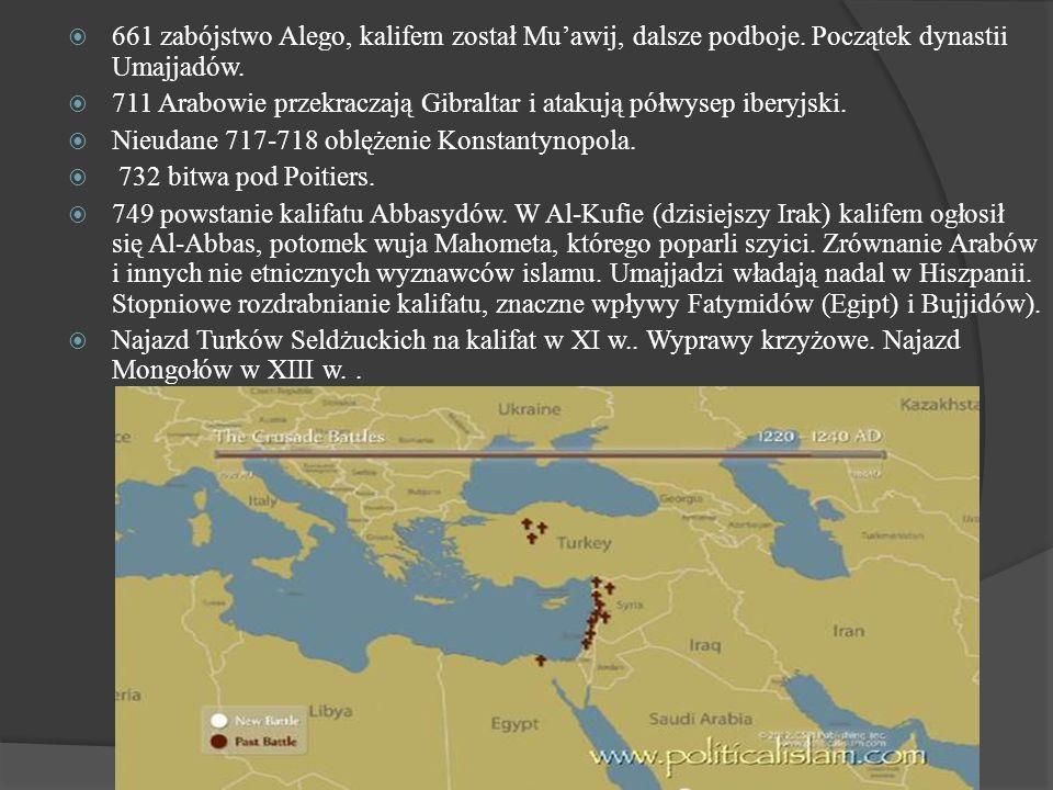  661 zabójstwo Alego, kalifem został Mu'awij, dalsze podboje. Początek dynastii Umajjadów.  711 Arabowie przekraczają Gibraltar i atakują półwysep i