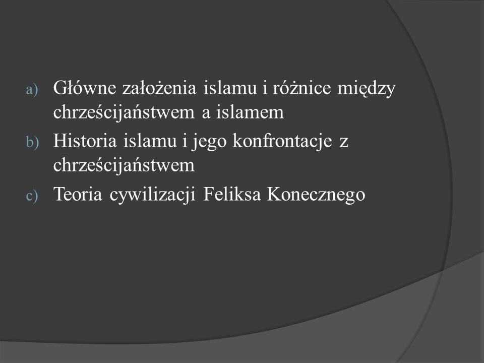 a) Główne założenia islamu i różnice między chrześcijaństwem a islamem b) Historia islamu i jego konfrontacje z chrześcijaństwem c) Teoria cywilizacji
