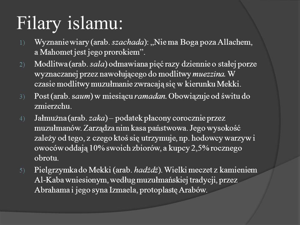 """Filary islamu: 1) Wyznanie wiary (arab. szachada): """"Nie ma Boga poza Allachem, a Mahomet jest jego prorokiem"""". 2) Modlitwa (arab. sala) odmawiana pięć"""