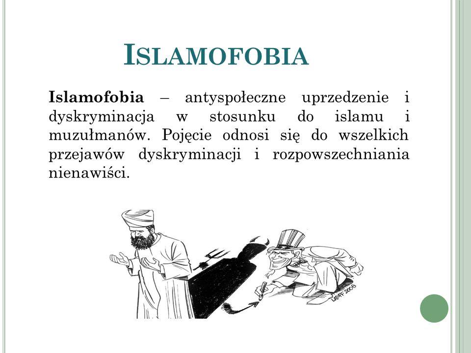 I SLAMOFOBIA Islamofobia – antyspołeczne uprzedzenie i dyskryminacja w stosunku do islamu i muzułmanów. Pojęcie odnosi się do wszelkich przejawów dysk