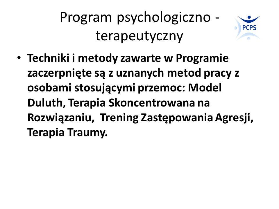 Program psychologiczno - terapeutyczny Techniki i metody zawarte w Programie zaczerpnięte są z uznanych metod pracy z osobami stosującymi przemoc: Mod