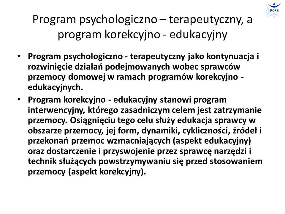 Program psychologiczno – terapeutyczny, a program korekcyjno - edukacyjny Program korekcyjno - edukacyjny skupiony jest na metodach (edukacji i narzędziach), a program psychologiczno - terapeutyczny skoncentrowany jest przede wszystkim na kliencie jako podmiocie oddziaływań.