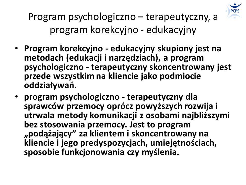 Program psychologiczno – terapeutyczny, a program korekcyjno - edukacyjny Program korekcyjno - edukacyjny skupiony jest na metodach (edukacji i narzęd
