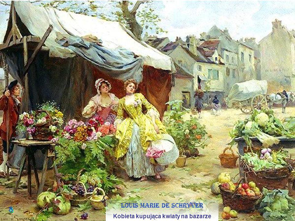 8 8 Louis Marie de Schryver Kobieta kupująca kwiaty na bazarze