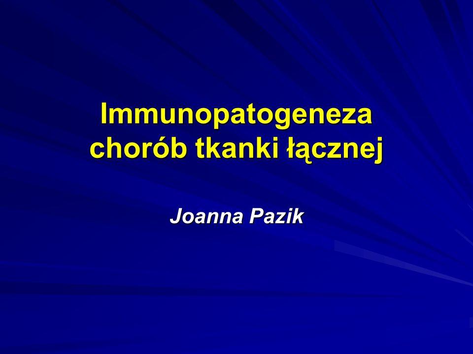 Zapalenie skórno-mięśniowe i wielomięśniowe etiologia: nieznana – wirusy (?) – coxackie, CMV, grypy, HIV, HBV predyspozycja genetyczna: HLA DR3, HLA DRw52 włókna mięśniowe niszczone przez limfocyty T cytotoksyczne martwica, degeneracja, regeneracja włókien mięśniowych przeciwciała przeciwko rybonukleinom włączonym w transkrypcje i syntezę białek MSA: anty-Jo-1 MAA: anty-Mi-2, anty-SRP, anty-PM-Scl, anty-U1RNP, anty-Ro, anty-Ku Autoantygeny:histadylowytreoninowyalaninowyizoleucynowyglicynowy