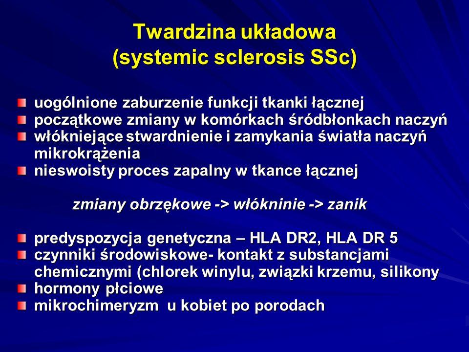 Twardzina układowa (systemic sclerosis SSc) uogólnione zaburzenie funkcji tkanki łącznej początkowe zmiany w komórkach śródbłonkach naczyń włókniejące stwardnienie i zamykania światła naczyń mikrokrążenia nieswoisty proces zapalny w tkance łącznej zmiany obrzękowe -> włókninie -> zanik zmiany obrzękowe -> włókninie -> zanik predyspozycja genetyczna – HLA DR2, HLA DR 5 czynniki środowiskowe- kontakt z substancjami chemicznymi (chlorek winylu, związki krzemu, silikony hormony płciowe mikrochimeryzm u kobiet po porodach