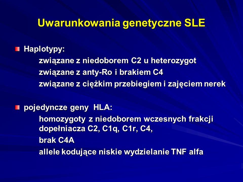 Uwarunkowania genetyczne SLE Haplotypy: związane z niedoborem C2 u heterozygot związane z anty-Ro i brakiem C4 związane z ciężkim przebiegiem i zajęciem nerek pojedyncze geny HLA: homozygoty z niedoborem wczesnych frakcji dopełniacza C2, C1q, C1r, C4, brak C4A allele kodujące niskie wydzielanie TNF alfa
