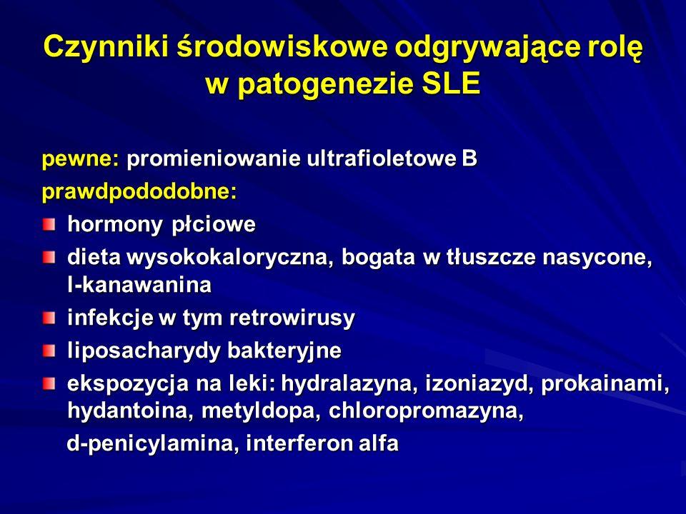 Czynniki środowiskowe odgrywające rolę w patogenezie SLE pewne: promieniowanie ultrafioletowe B prawdpododobne: hormony płciowe dieta wysokokaloryczna, bogata w tłuszcze nasycone, l-kanawanina infekcje w tym retrowirusy liposacharydy bakteryjne ekspozycja na leki: hydralazyna, izoniazyd, prokainami, hydantoina, metyldopa, chloropromazyna, d-penicylamina, interferon alfa d-penicylamina, interferon alfa