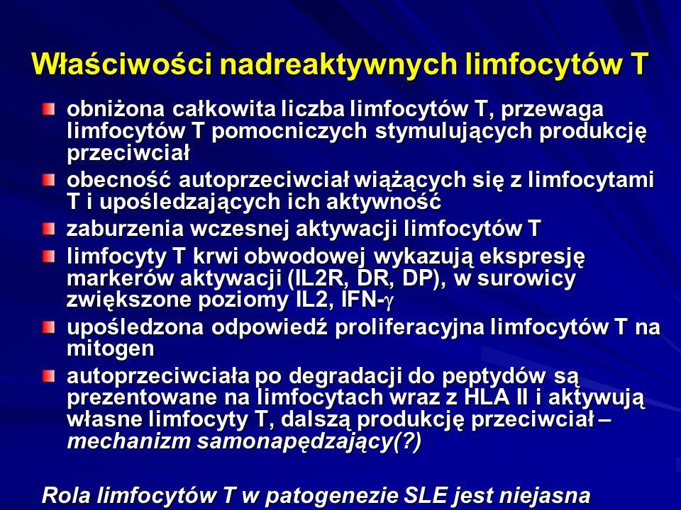 Właściwości nadreaktywnych limfocytów T obniżona całkowita liczba limfocytów T, przewaga limfocytów T pomocniczych stymulujących produkcję przeciwciał obecność autoprzeciwciał wiążących się z limfocytami T i upośledzających ich aktywność zaburzenia wczesnej aktywacji limfocytów T limfocyty T krwi obwodowej wykazują ekspresję markerów aktywacji (IL2R, DR, DP), w surowicy zwiększone poziomy IL2, IFN-  upośledzona odpowiedź proliferacyjna limfocytów T na mitogen autoprzeciwciała po degradacji do peptydów są prezentowane na limfocytach wraz z HLA II i aktywują własne limfocyty T, dalszą produkcję przeciwciał – mechanizm samonapędzający(?) Rola limfocytów T w patogenezie SLE jest niejasna
