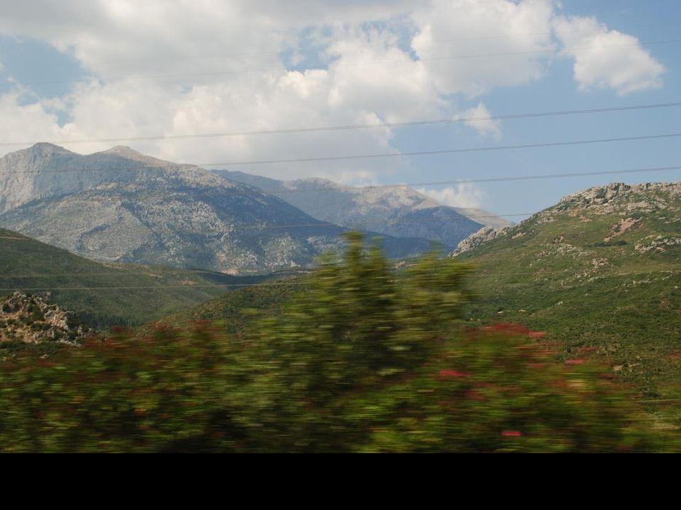 Zdjęcia z jadącego autobusu drogi z Delf