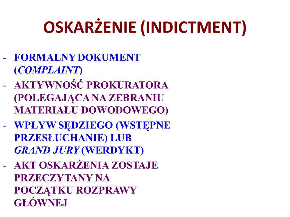 OSKARŻENIE (INDICTMENT) -FORMALNY DOKUMENT (COMPLAINT) -AKTYWNOŚĆ PROKURATORA (POLEGAJĄCA NA ZEBRANIU MATERIAŁU DOWODOWEGO) -WPŁYW SĘDZIEGO (WSTĘPNE PRZESŁUCHANIE) LUB GRAND JURY (WERDYKT) -AKT OSKARŻENIA ZOSTAJE PRZECZYTANY NA POCZĄTKU ROZPRAWY GŁÓWNEJ