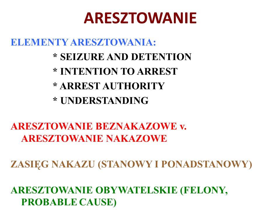 ARESZTOWANIE ELEMENTY ARESZTOWANIA: * SEIZURE AND DETENTION * INTENTION TO ARREST * ARREST AUTHORITY * UNDERSTANDING ARESZTOWANIE BEZNAKAZOWE v.