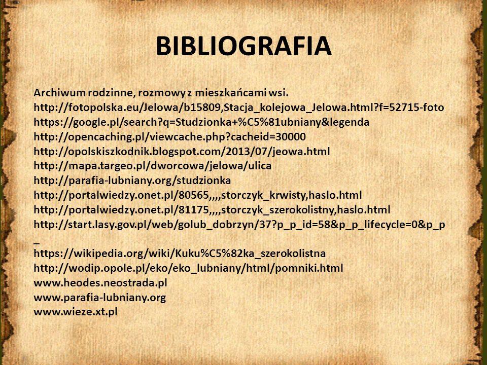 BIBLIOGRAFIA Archiwum rodzinne, rozmowy z mieszkańcami wsi. http://fotopolska.eu/Jelowa/b15809,Stacja_kolejowa_Jelowa.html?f=52715-foto https://google