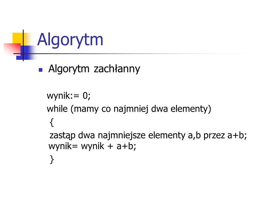Algorytm Algorytm zachłanny wynik:= 0; while (mamy co najmniej dwa elementy) { zastąp dwa najmniejsze elementy a,b przez a+b; wynik= wynik + a+b; }