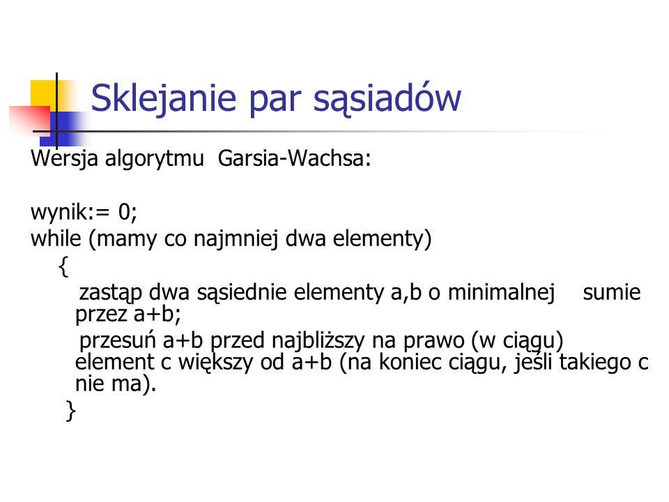 Sklejanie par sąsiadów Wersja algorytmu Garsia-Wachsa: wynik:= 0; while (mamy co najmniej dwa elementy) { zastąp dwa sąsiednie elementy a,b o minimaln