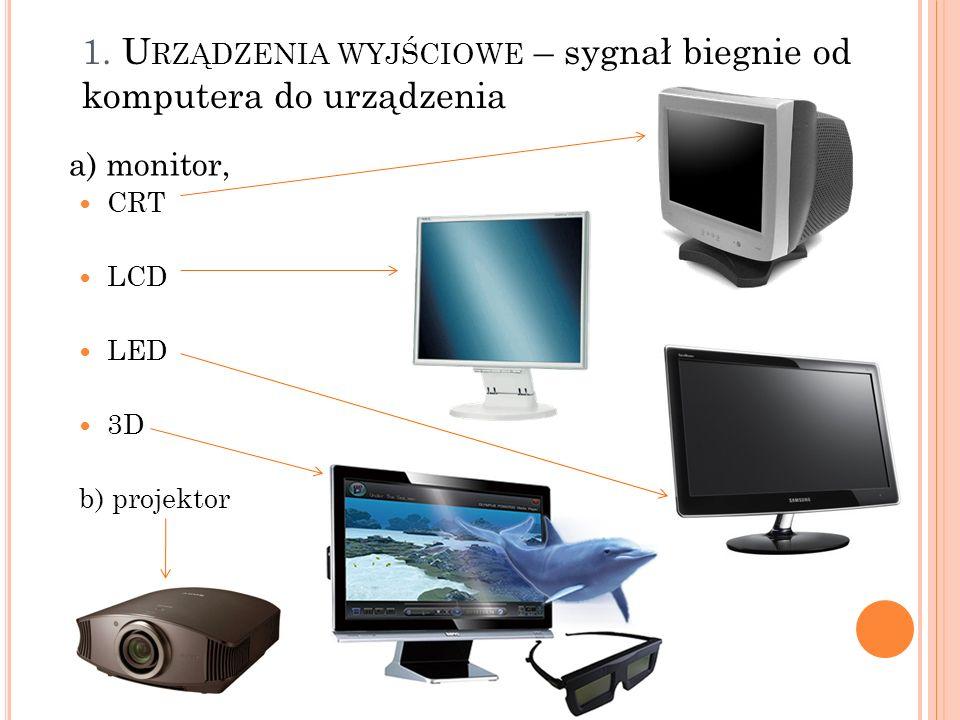 1. U RZĄDZENIA WYJŚCIOWE – sygnał biegnie od komputera do urządzenia a) monitor, CRT LCD LED 3D b) projektor