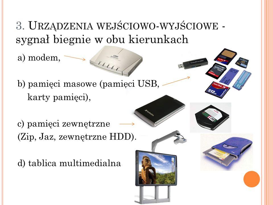 a) modem, b) pamięci masowe (pamięci USB, karty pamięci), c) pamięci zewnętrzne (Zip, Jaz, zewnętrzne HDD). d) tablica multimedialna 3. U RZĄDZENIA WE