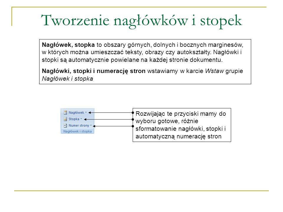 Tworzenie nagłówków i stopek Nagłówek, stopka to obszary górnych, dolnych i bocznych marginesów, w których można umieszczać teksty, obrazy czy autokształty.