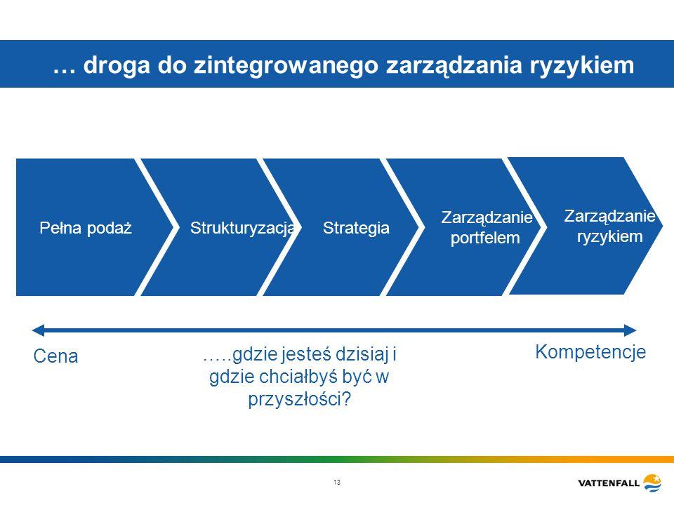 13 … droga do zintegrowanego zarządzania ryzykiem Pełna podaż Zarządzanie ryzykiem Kompetencje Zarządzanie portfelem Strukturyzacja Strategia Cena …..