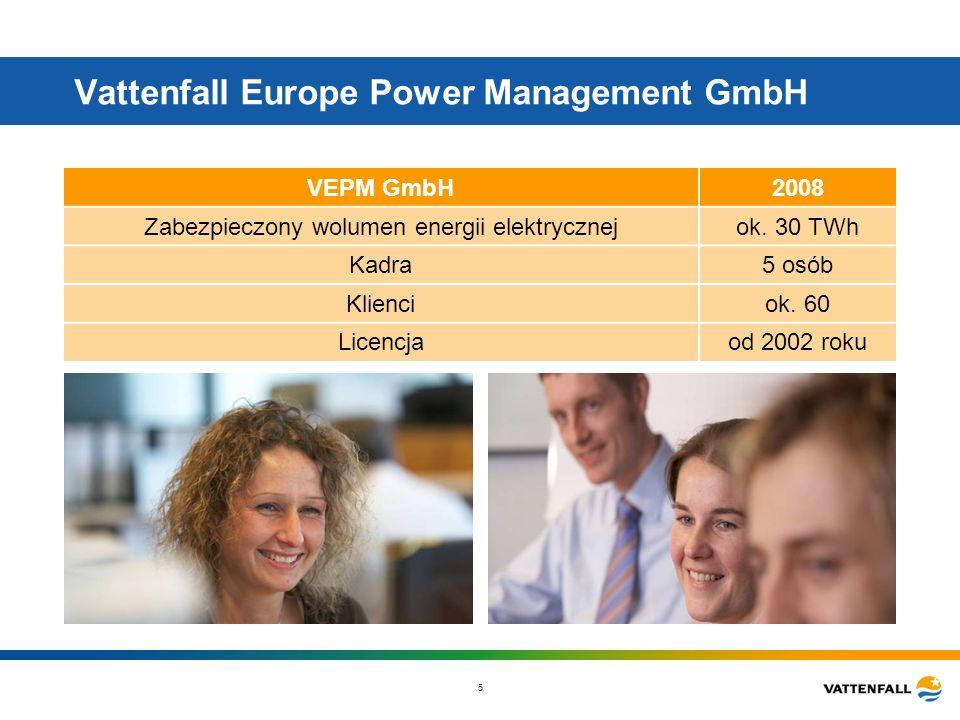 5 Vattenfall Europe Power Management GmbH VEPM GmbH2008 Zabezpieczony wolumen energii elektrycznejok. 30 TWh Kadra5 osób Klienciok. 60 Licencjaod 2002